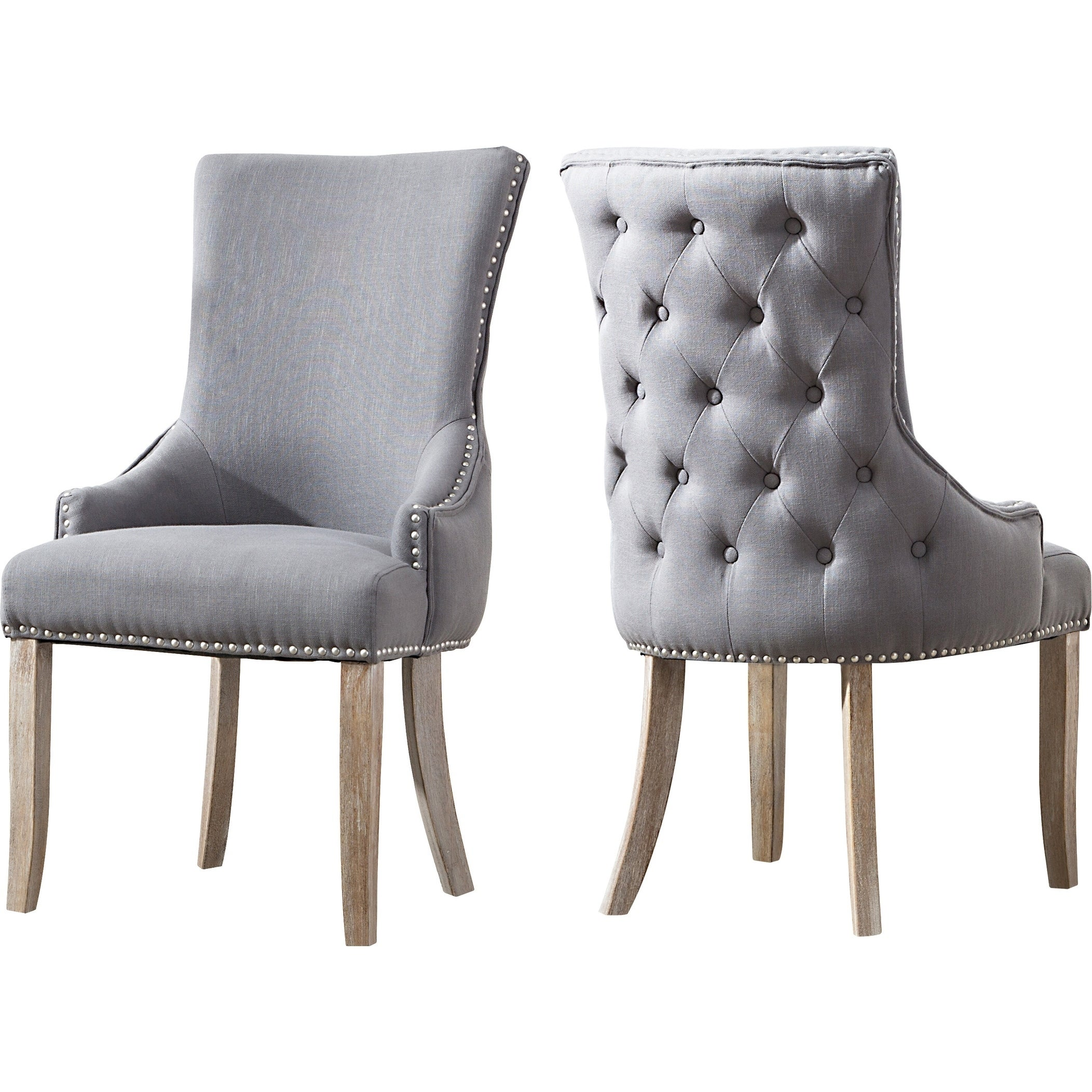 Superb Best Quality Furniture Grey Wingback Side Chairs Set Of 2 Machost Co Dining Chair Design Ideas Machostcouk