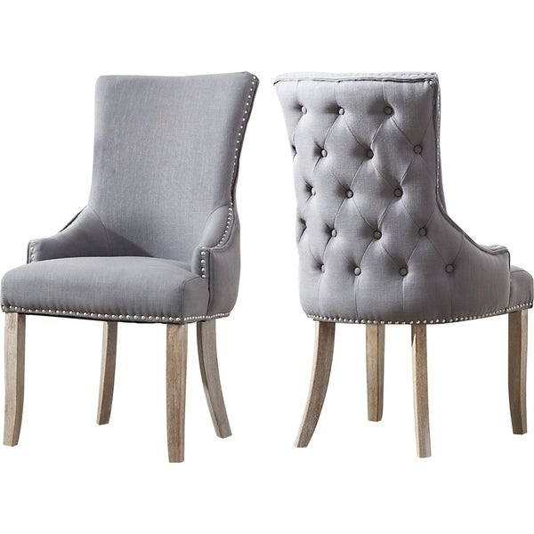 Shop Best Quality Furniture Grey Wingback Side Chairs (Set