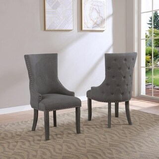 Best Quality Furniture Grey Wingback Side Chairs (Set of 2)