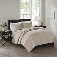 510 Design Estele Khaki Solid Embossed 3-piece Coverlet Set