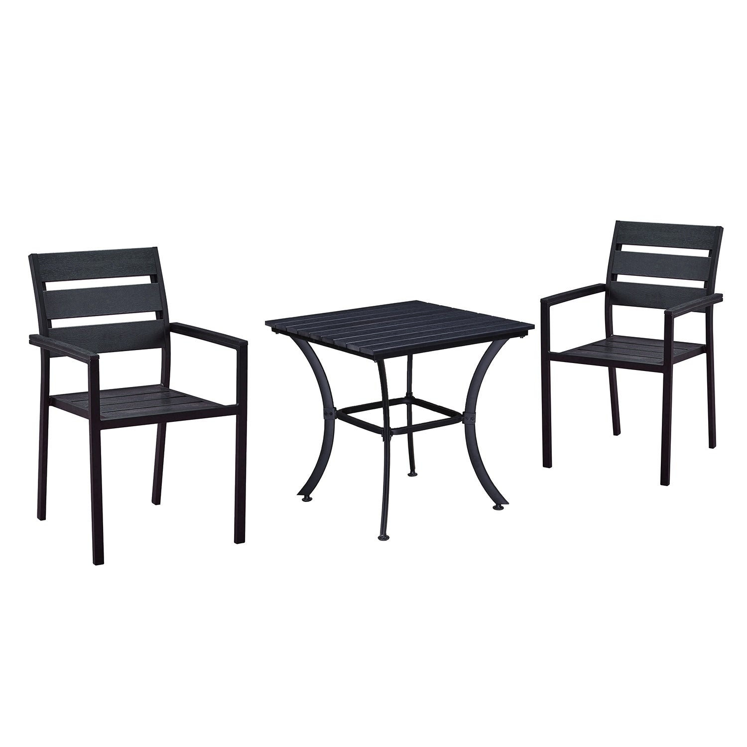 Details About Indoor And Outdoor Square 25 Inch Black Dining Table With Two Chairs