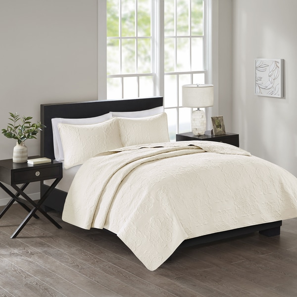510 Design Estele Cream Solid Embossed 3-piece Coverlet Set