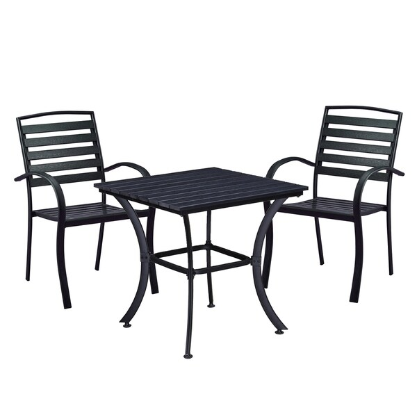 Indoor and Outdoor Square 25 Inch Black Dining Table with Two Chairs