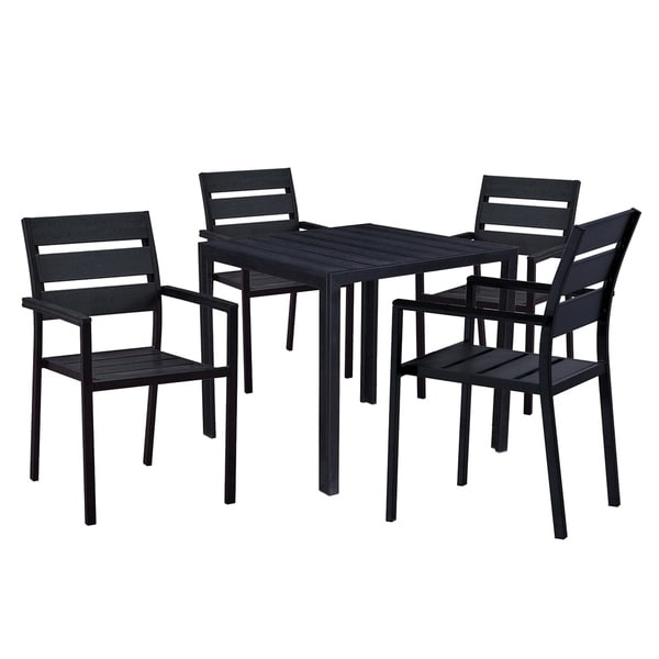 Black Dining Table And 4 Chairs: Shop Indoor And Outdoor Square 32 Inch Black Dining Table