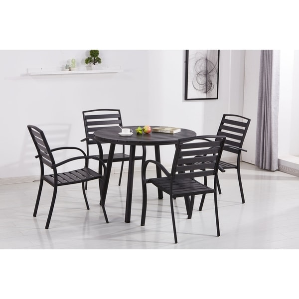 Safavieh Outdoor Living Cooley Black White Dining Set 5: Shop Indoor And Outdoor Round 39 Inch Black Dining Table
