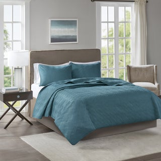 510 Design Korie Teal Solid Embossed 3-piece Coverlet Set