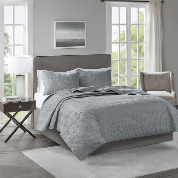 510 Design Korie Grey Solid Embossed 3-piece Coverlet Set