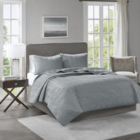 510 Design Korie Grey Solid Embossed 3-piece Coverlet Set