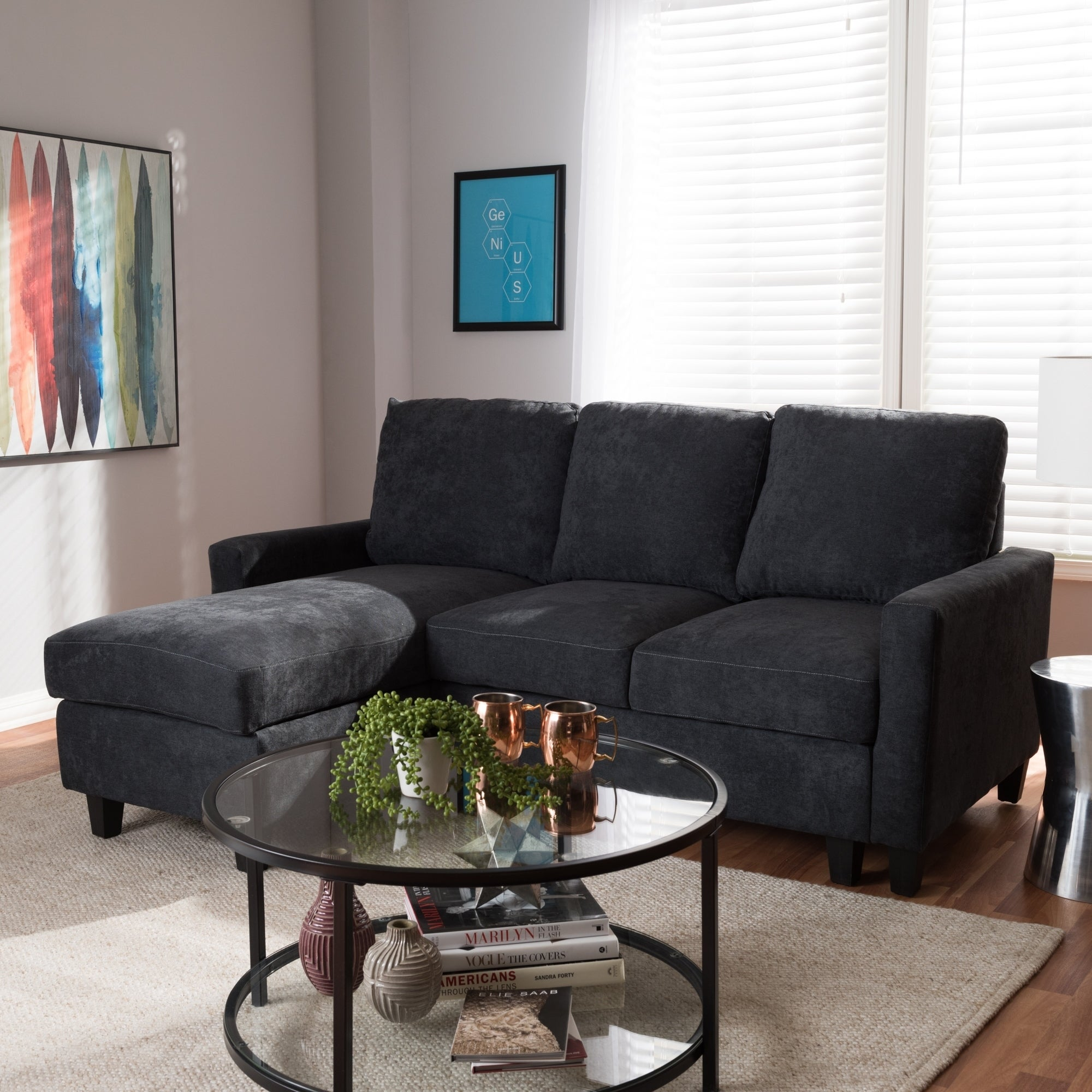Modern Fabric Upholstered Reversible Sectional Sofa by Baxton Studio