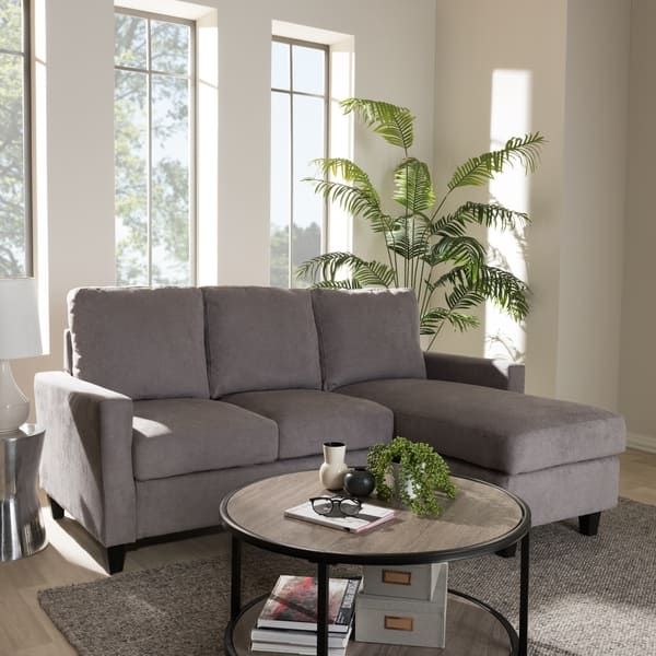 Pleasant Shop Modern Fabric Upholstered Reversible Sectional Sofa By Bralicious Painted Fabric Chair Ideas Braliciousco