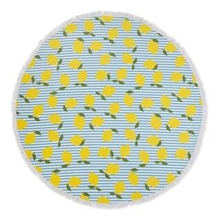 Seaside Living Lemon Stripe Round Beach Towel