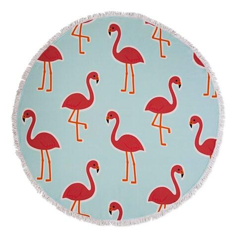 Seaside Living Flamingo Round Beach Towel