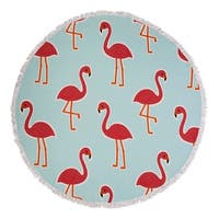 Seaside Living Flamingo Round Beach Towel