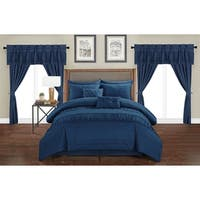 Chic Home Tinos Navy Ruched Ruffled 20-Piece Bed in a Bag Set