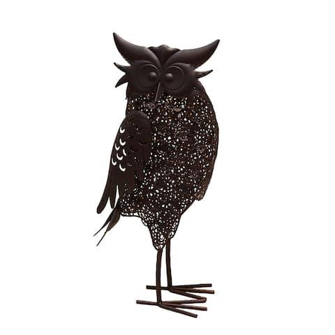 16.7 inch Steel Indoor/Outdoor Animal Owl Statue with Solar Light
