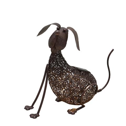 14.2 inch Steel Indoor/Outdoor Animal Dog Statue with Solar Light