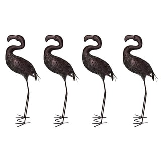 Four Pack 35 inch Indoor/Outdoor Flamingo Statue with Solar Light