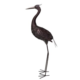 40 inch Steel Indoor/Outdoor Animal Crane Statue with Solar Light