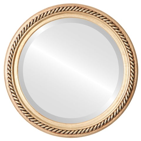Santa Fe Framed Round Mirror in Gold Leaf