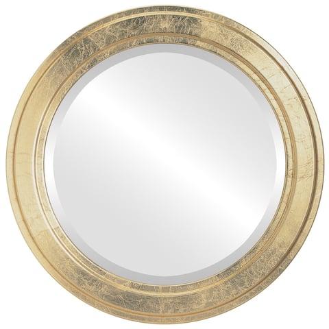 Wright Framed Round Mirror in Gold Leaf