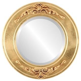 Ramino Framed Round Mirror in Gold Leaf