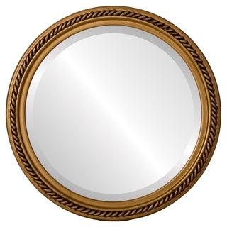 Santa Fe Framed Round Mirror in Gold Paint