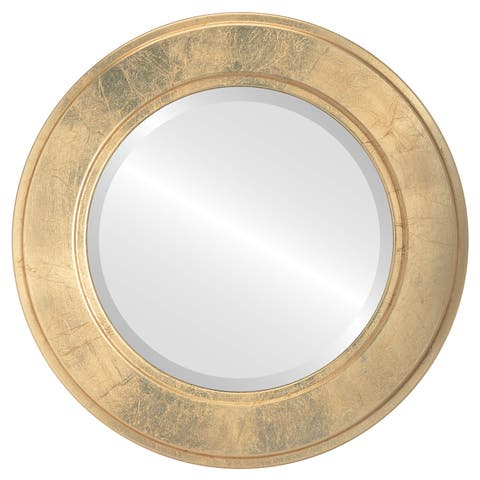 Montreal Framed Round Mirror in Gold Leaf