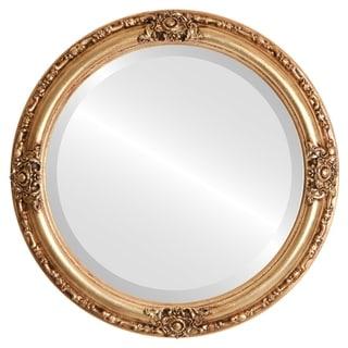 Jefferson Framed Round Mirror in Gold Leaf
