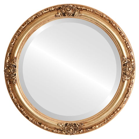 Jefferson Framed Round Mirror in Gold Leaf