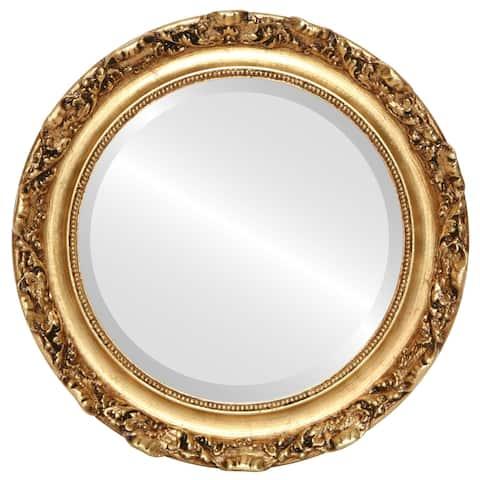 Rome Framed Round Mirror in Gold Leaf