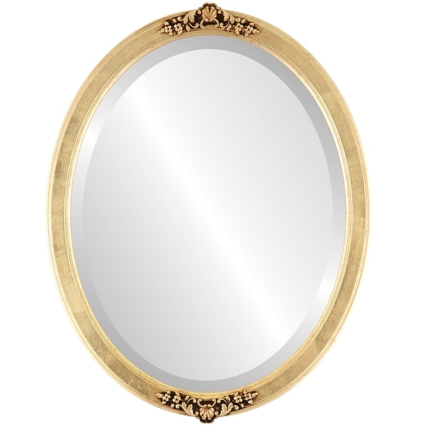 Athena Framed Oval Mirror in Gold Leaf