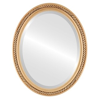 Santa Fe Framed Oval Mirror in Gold Paint