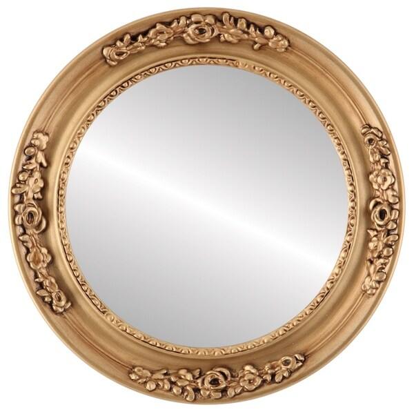 Versailles Framed Round Mirror in Gold Paint
