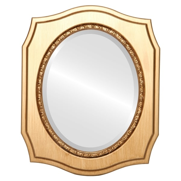 San Francisco Framed Oval Mirror in Gold Paint - 19x23