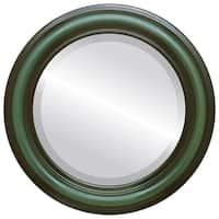 Philadelphia Framed Round Mirror in Hunter Green - Green/Brown