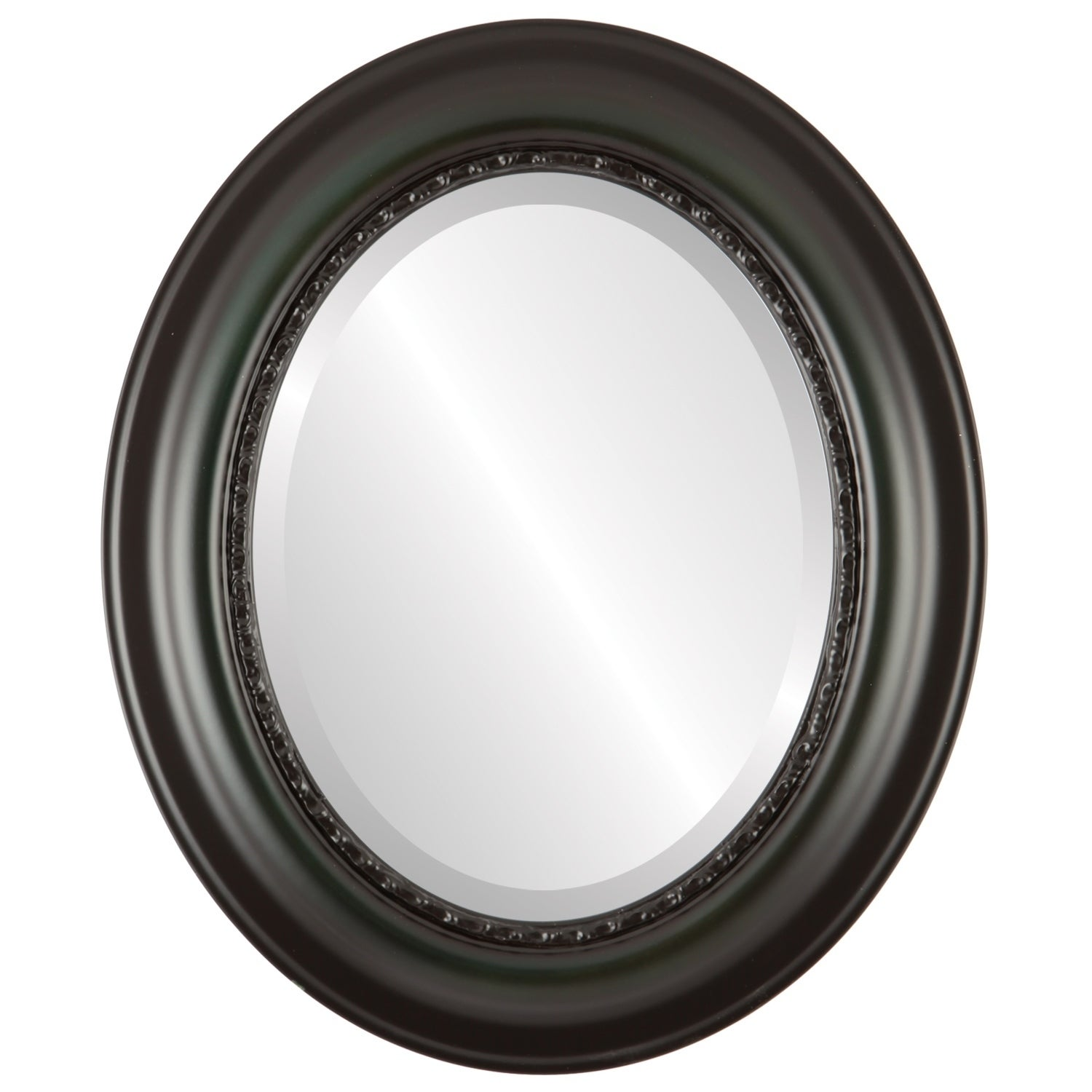 Chicago Framed Oval Mirror in Hunter Green - Green/Brown (25x35 - Medium (15-32 high))