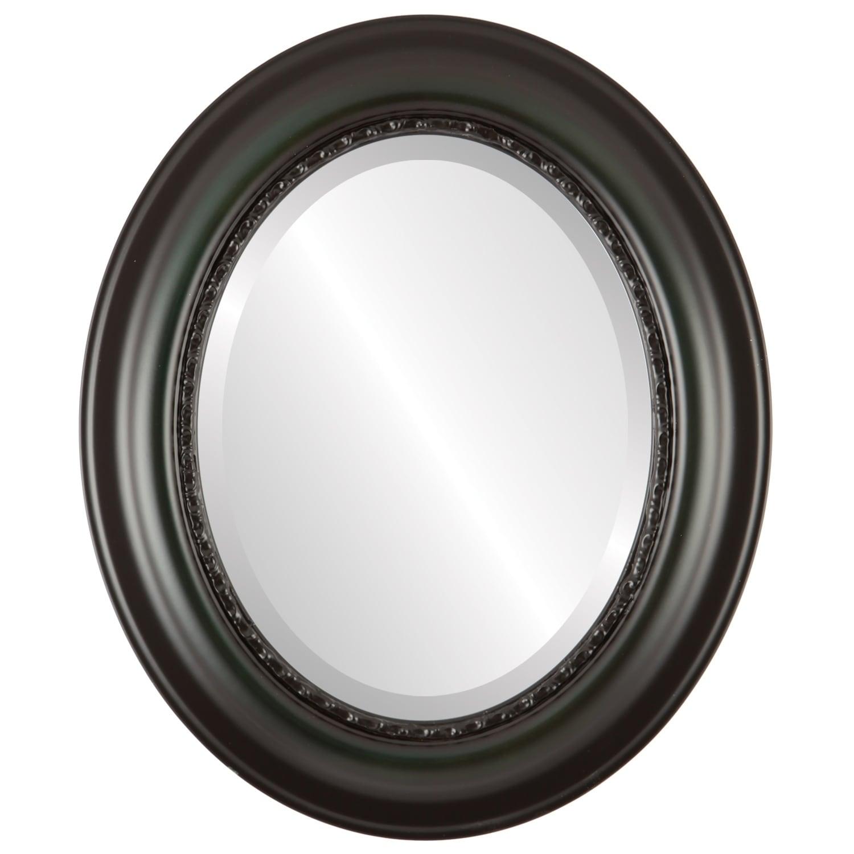 Chicago Framed Oval Mirror in Hunter Green - Green/Brown (27x33 - Medium (15-32 high))