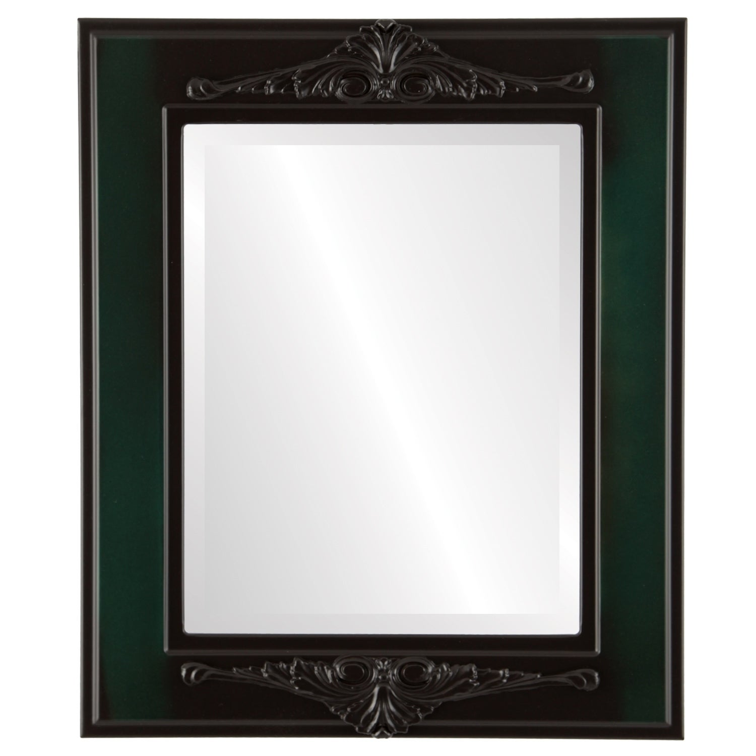 Ramino Framed Rectangle Mirror in Hunter Green - Green/Brown (25x29 - Medium (15-32 high))
