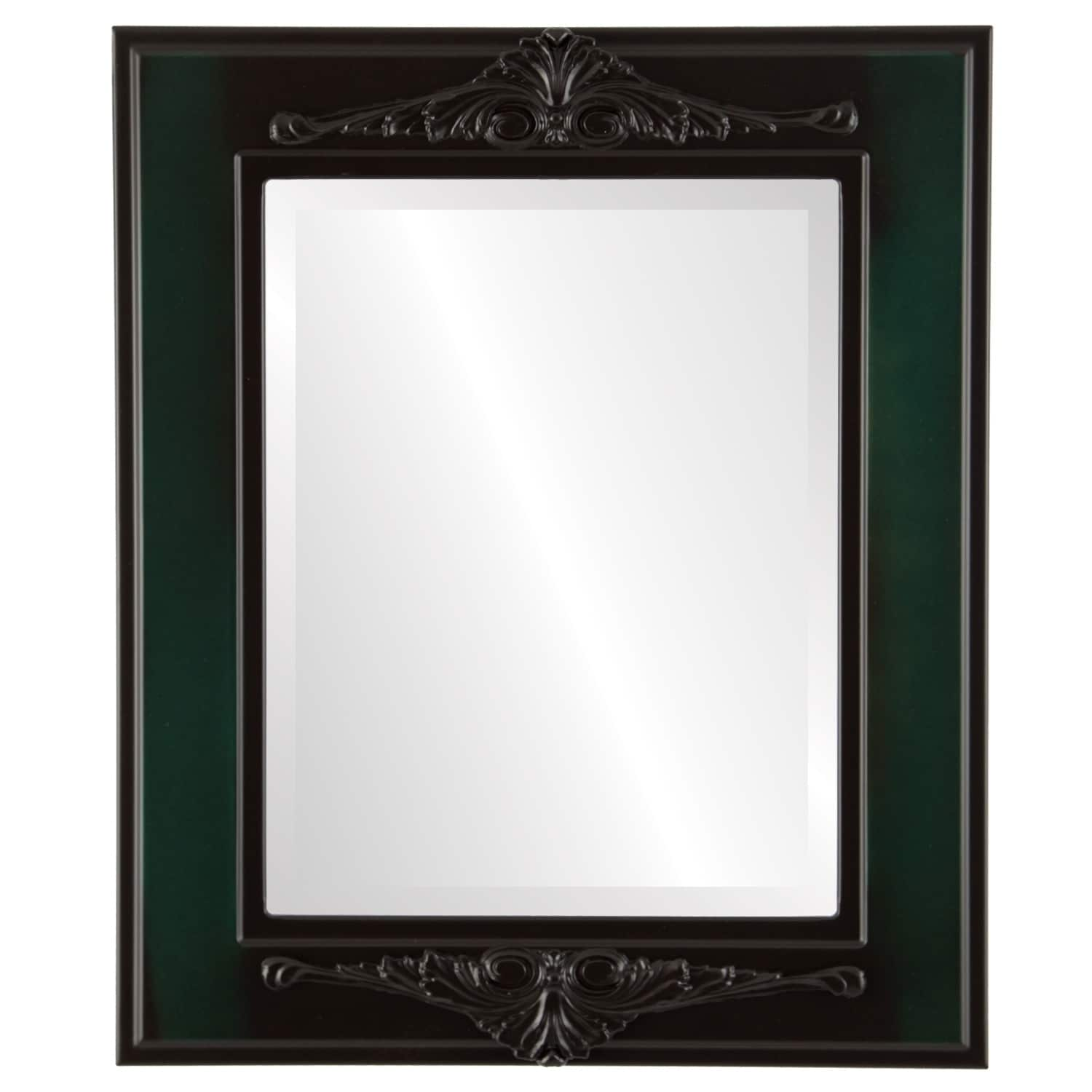 Ramino Framed Rectangle Mirror in Hunter Green - Green/Brown (25x35 - Medium (15-32 high))