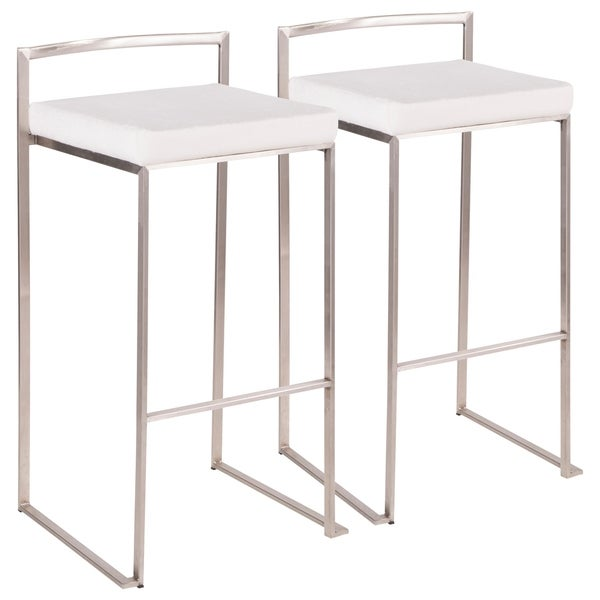 Fuji Contemporary Stackable Stainless Steel Bar Stool (Set of 2)