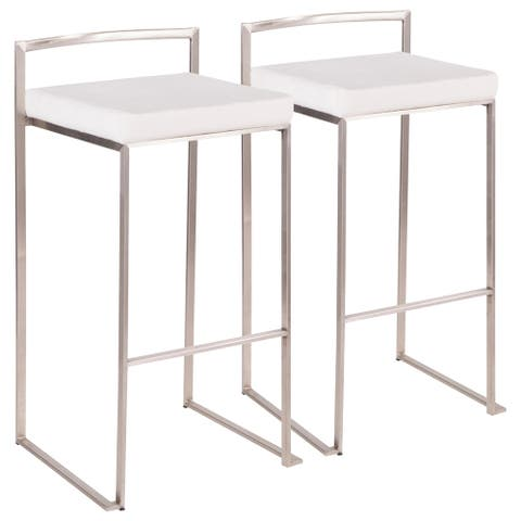 Fuji Contemporary Stackable Stainless Steel Low-Profile Back Bar Stool (Set of 2)