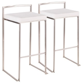 Link to Fuji Contemporary Stackable Stainless Steel Low-Profile Back Bar Stool (Set of 2) - N/A Similar Items in Dining Room & Bar Furniture