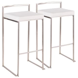 Fuji Contemporary Stackable Stainless Steel Bar Stool (Set of 2) - N/A