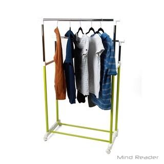 Mind Reader Metal Double Rolling Garment Rack, Green