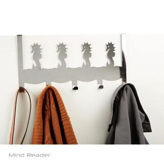 Mind Reader 5 Hooks Over-The-Door Rack with Sea Horse Design, Silver