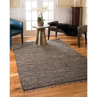 NaturalAreaRugs Maven Leather Jute Area Rug, Durable, Stain Resistant (5' x 8') Brown Color