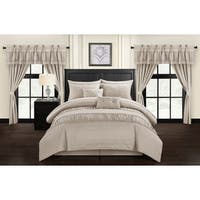 Chic Home Tinos Taupe Ruched Ruffled 20-Piece Bed in a Bag Set