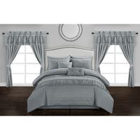 Chic Home Tinos Grey Ruched Ruffled 20-Piece Bed in a Bag Set