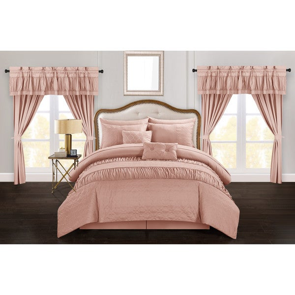 Chic Home Tinos Coral Ruched Ruffled 20-Piece Bed in a Bag Set