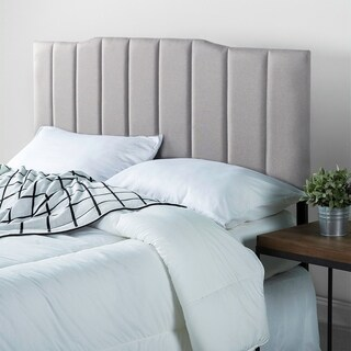 Priage Upholstered Channel Stitched Headboard-Super Light Grey